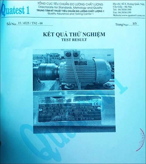 chứng nhận chất lượng motor 1.5kw 2hp
