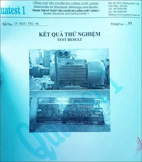 chứng nhận chất lượng motor 11kw 15hp