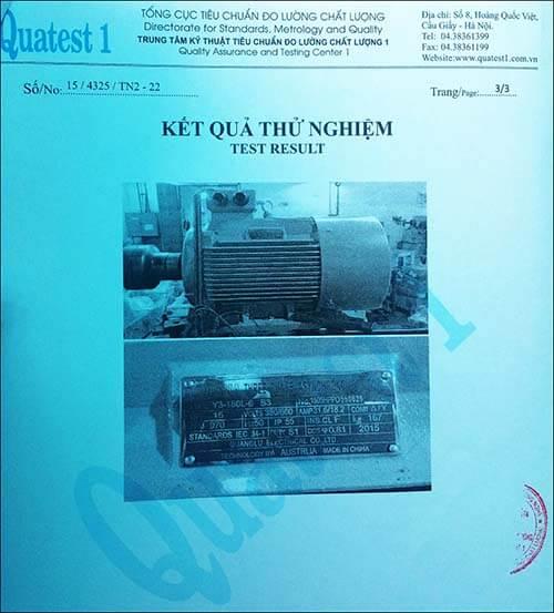 chứng nhận chất lượng motor 15kw 20hp
