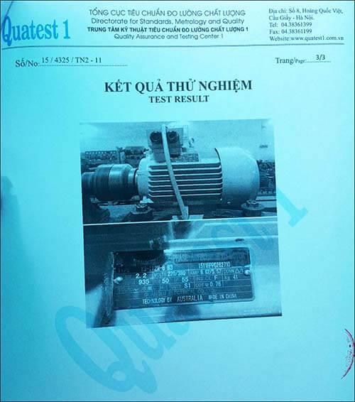 chứng nhận chất lượng motor 2.2kw 3hp