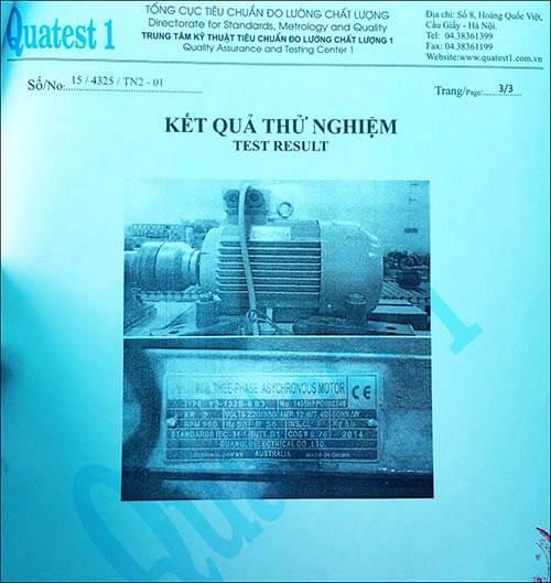 chứng nhận chất lượng motor 3kw 4hp