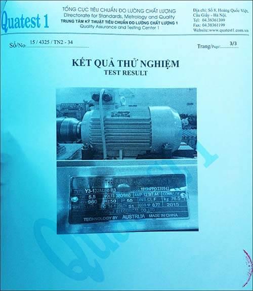 chứng nhận chất lượng motor 5.5kw 7.5hp