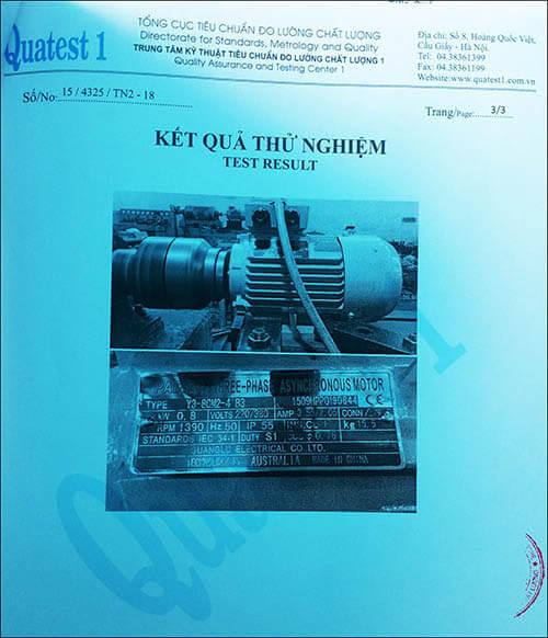 chứng nhận chất lượng motor 0.75kw 1hp thương hiệu Parma MinhMotor