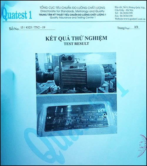 chứng nhận chất lượng motor 11kw 15hp thương hiệu Parma MinhMotor