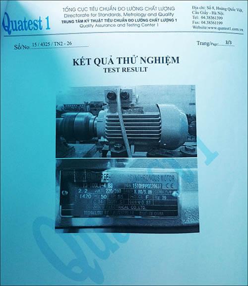 chứng nhận chất lượng motor 2.2kw 3hp thương hiệu Parma MinhMotor