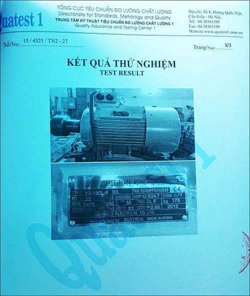 chứng nhận chất lượng motor 22kw 30hp thương hiệu Parma MinhMotor