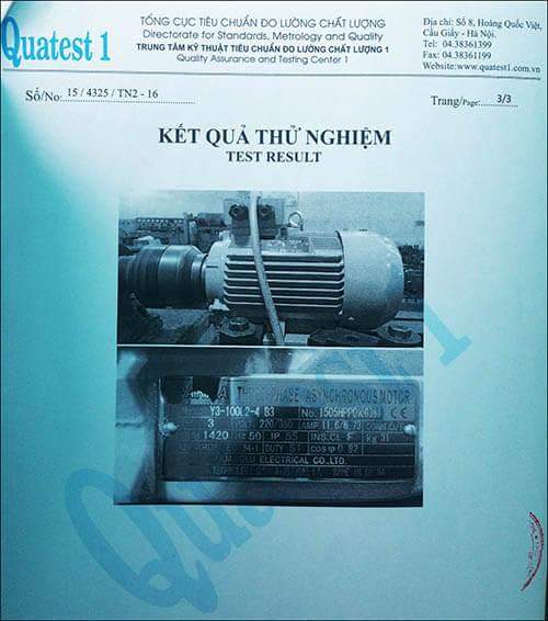 chứng nhận chất lượng motor 3kw 4hp thương hiệu Parma MinhMotor