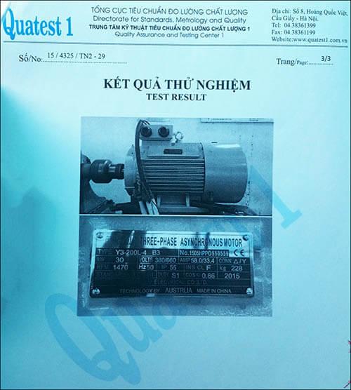 chứng nhận chất lượng motor 30kw 40hp thương hiệu Parma MinhMotor
