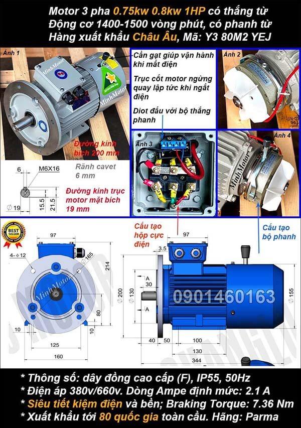Motor phanh 1hp 0.75kw mặt bích 3 pha 4 cực điện