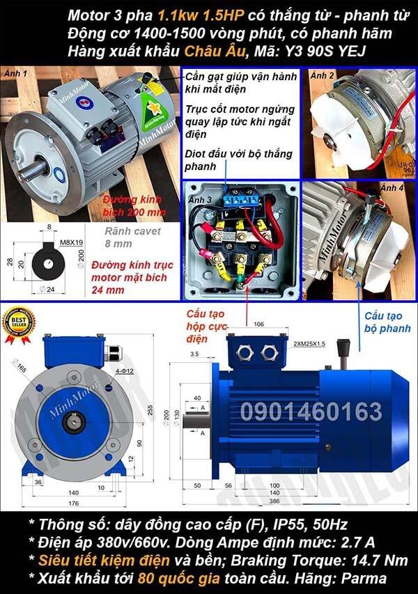 Motor phanh 1.1kw 1.5hp 3 pha mặt bích 4 cực điện