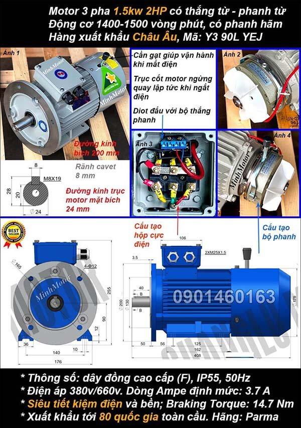 Motor phanh 1.5kw 2hp 3 pha mặt bích 4 cực điện
