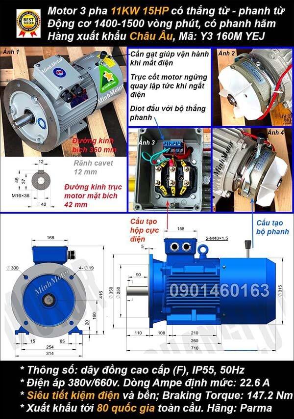 Motor phanh 11kw 15hp 3 pha mặt bích 4 cực điện