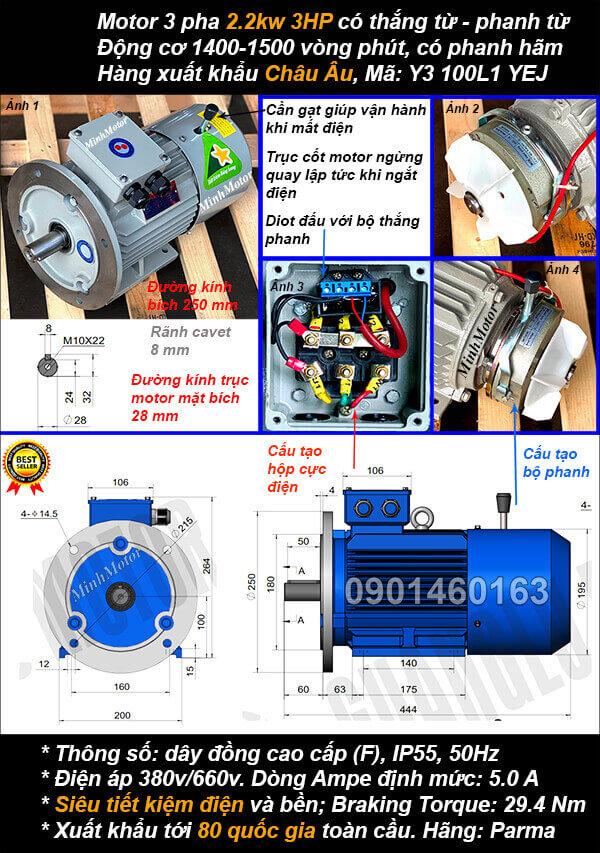 Motor phanh 2.2kw 3hp 3 pha mặt bích 4 cực điện