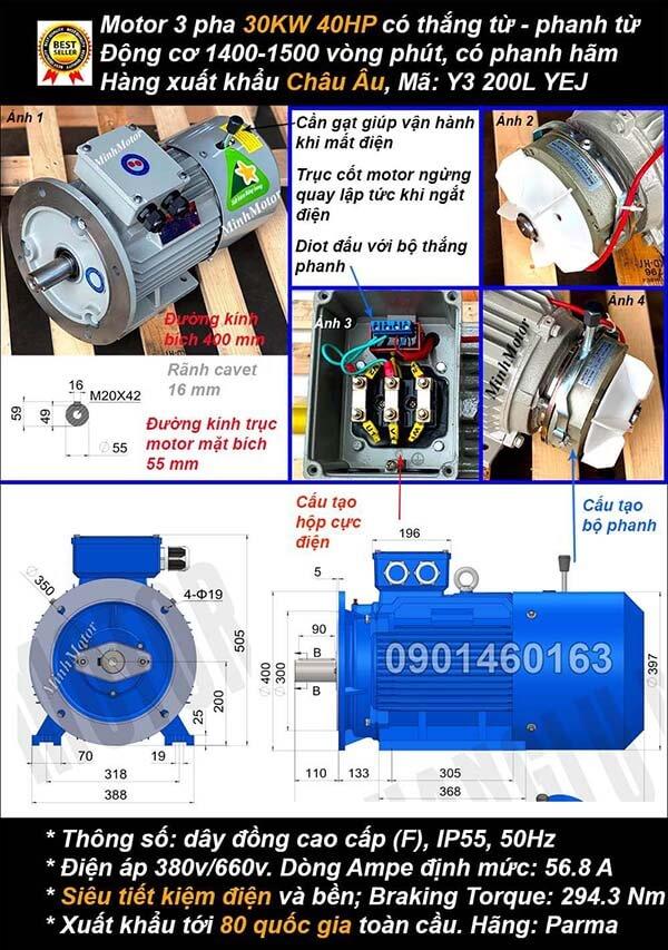 Motor phanh 30kw 40hp 3 pha mặt bích 4 cực điện