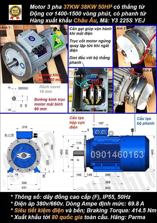 Motor phanh 37kw 38kw 50hp 3 pha mặt bích 4 cực điện