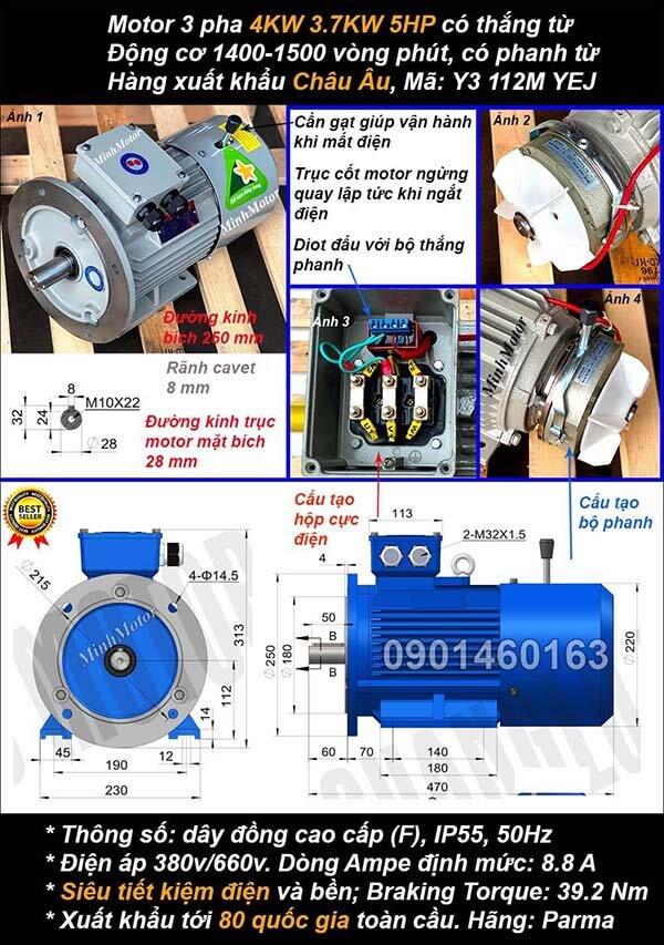 Motor phanh 3.7kw 4kw 5hp 3 pha mặt bích 4 cực điện