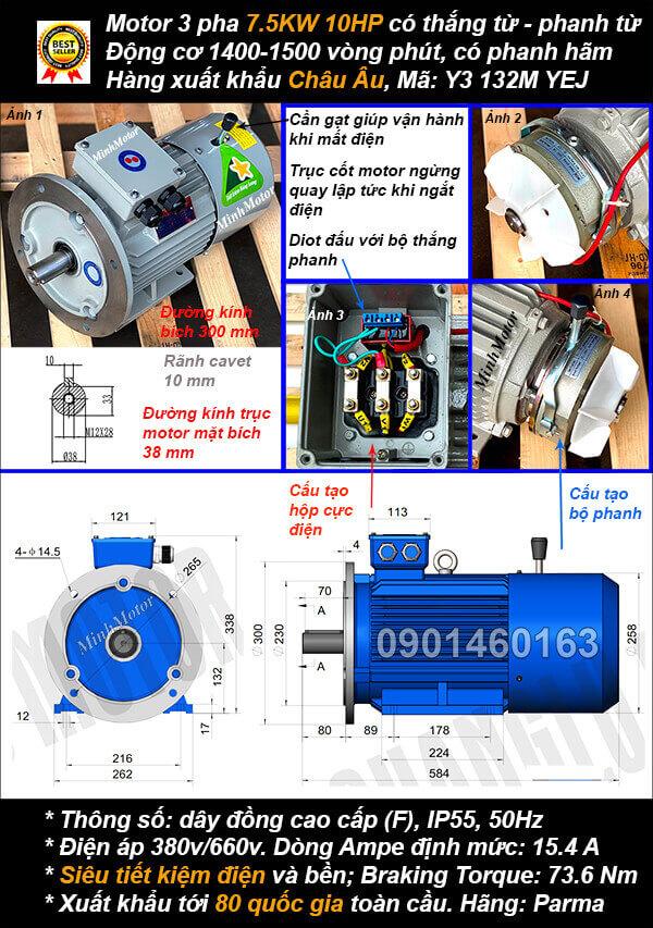 Motor phanh 7.5kw 10hp 3 pha mặt bích 4 cực điện