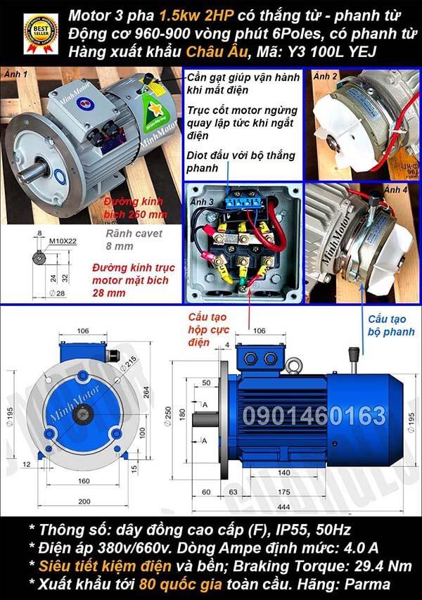 Motor phanh 1.5kw 2hp 3 pha mặt bích 6 cực điện