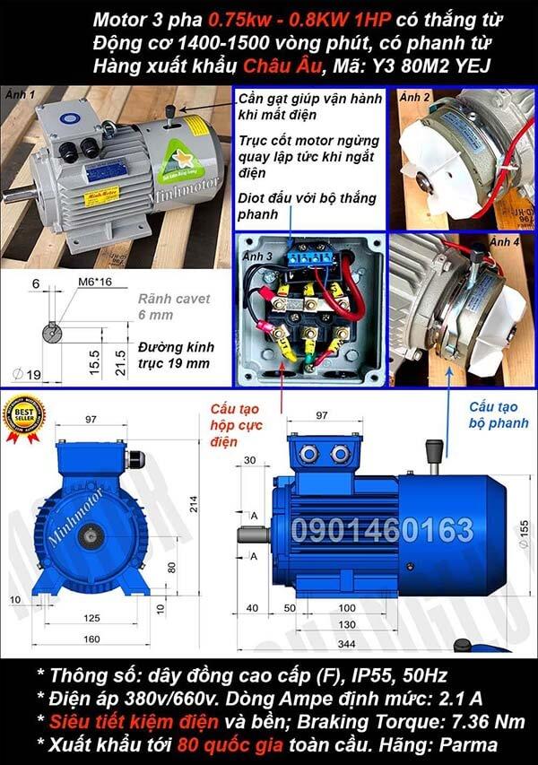 Motor phanh 1hp 0.75kw chân đế 4 cực điện