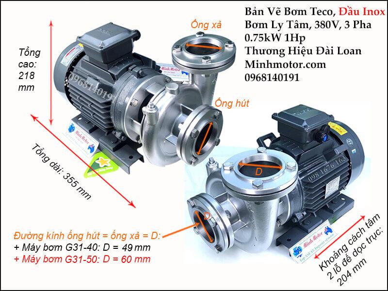 Thông số kỹ thuật và kích thước bản vẽ bơm inox 0.75kw 1 hp