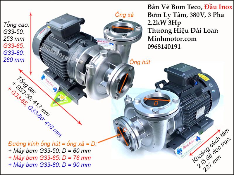 Thông số kỹ thuật và kích thước bản vẽ bơm teco đầu inox 2.2kw 3 hp