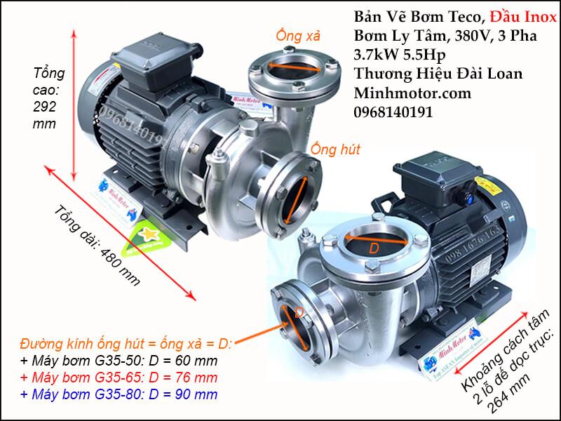 Thông số kỹ thuật và kích thước bản vẽ bơm inox 3.7kw 5.5hp