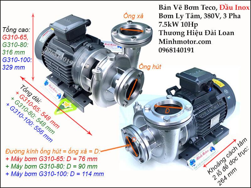 Thông số kỹ thuật và kích thước bản vẽ bơm inox 7.5kw 10hp