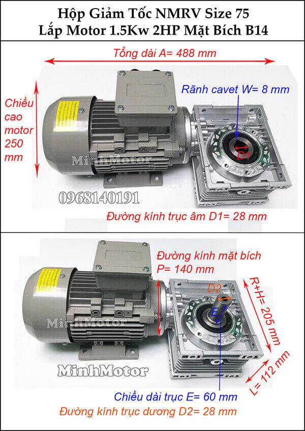 hộp số giảm tốc NMRV 075 gắn motor mặt bích B14 1.5kw 2 hp