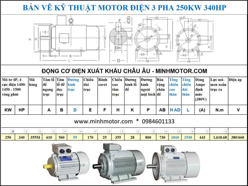 Thông số kĩ thuật bản vẽ động cơ điện 340Hp 250Kw 4 Cực điện