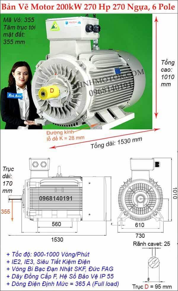 Bản vẽ kích thước Động cơ điện 270Hp 200Kw 6 Cực Điện
