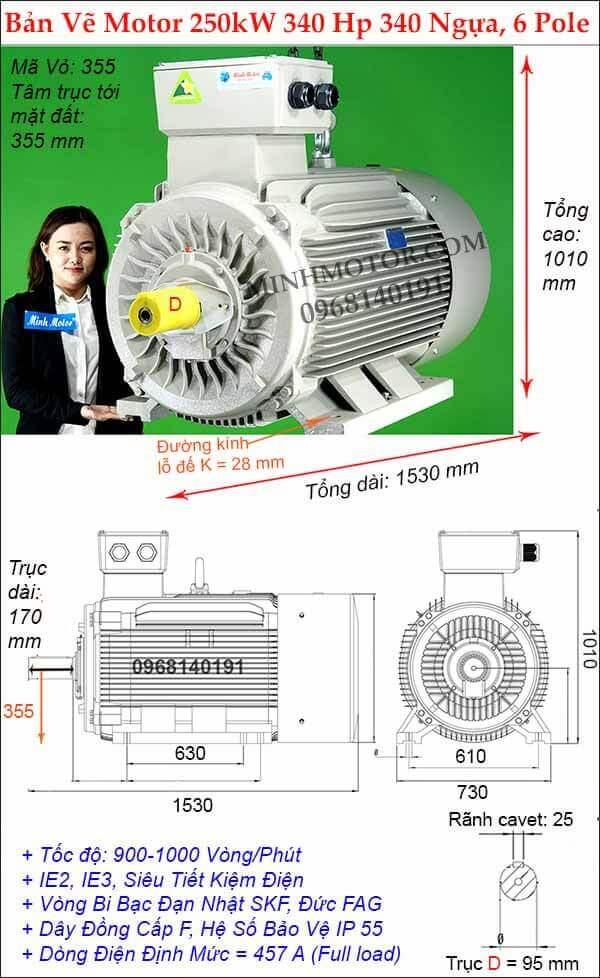 Thông số kỹ thuật động cơ điện 340Hp 250Kw, 6 Cực điện