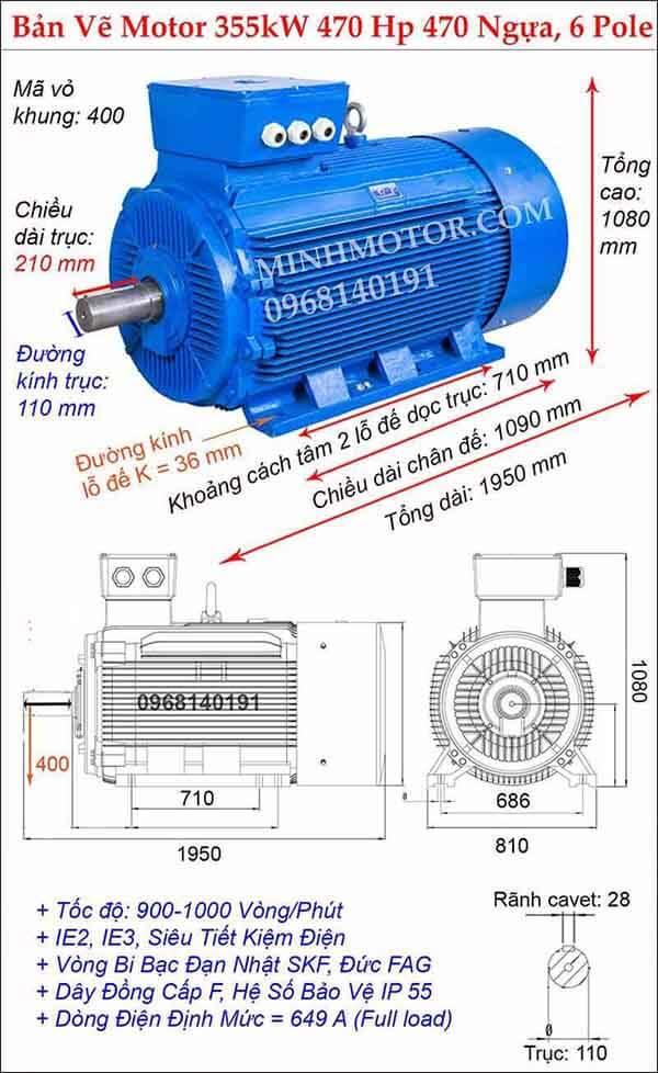 Thông số kỹ thuật motor điện 3 pha 355kw 470hp, 6 Pole