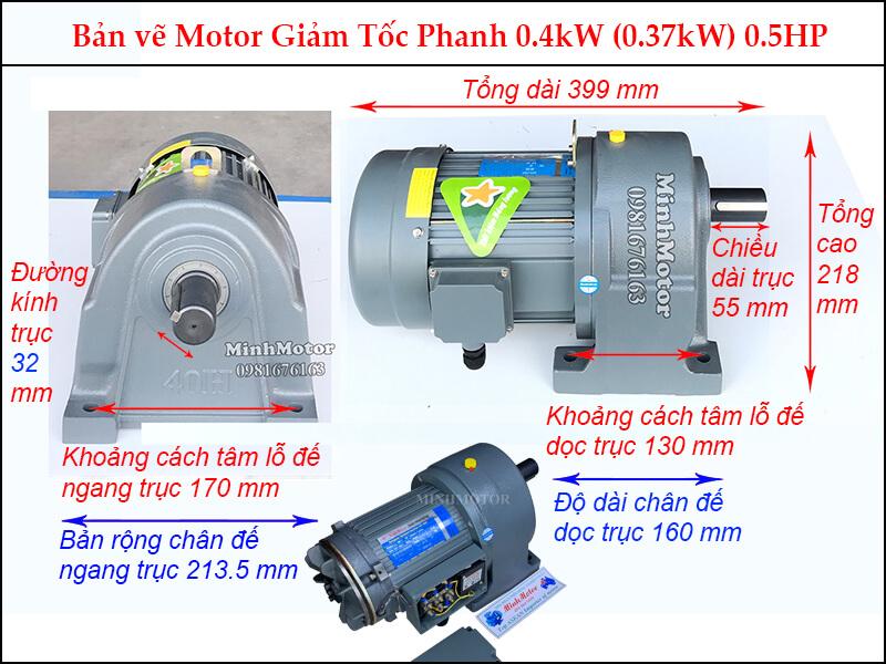 Bản vẽ hình học motor giảm tốc có thắng 0.37kw 1/2 ngựa trục 32