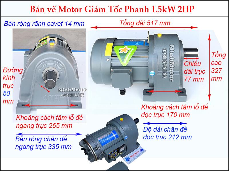 Motor giảm tốc phanh trục thẳng 1.5kw 2HP trục 50