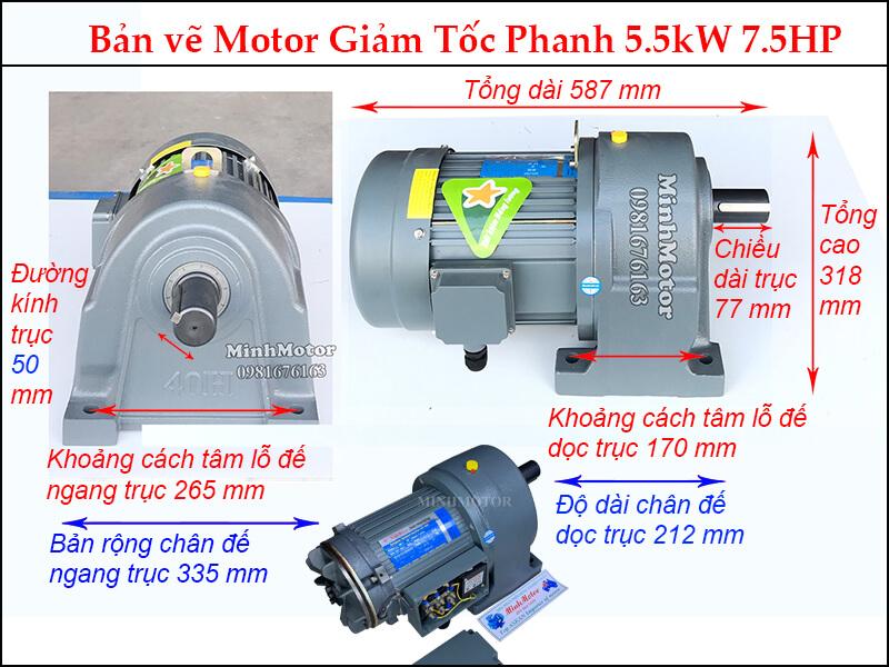 Bản vẽ kỹ thuật motor giảm tốc phanh thắng 5.5kw 7.5 ngựa trục 50