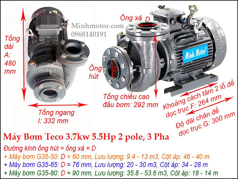 Bản vẽ máy bơm nước Teco 3.7kw 5.5Hp, 2P