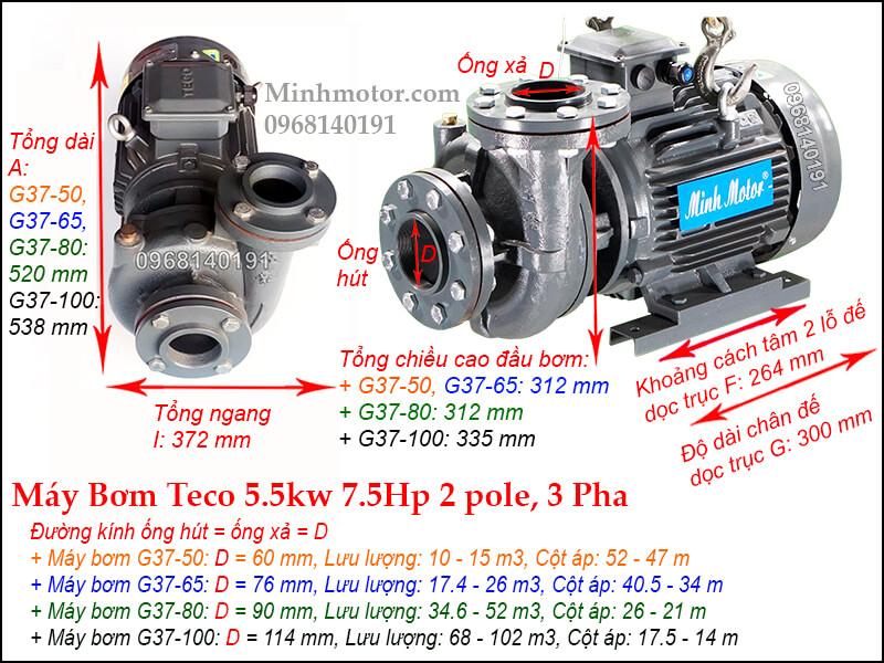 Bản vẽ máy bơm nước Teco 5.5kw 7.5Hp, 2P