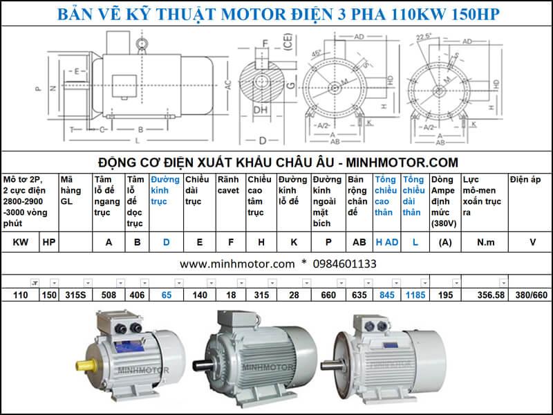 Thông số kĩ thuật bản vẽ động cơ điện 150Hp 110Kw 2 Cực điện
