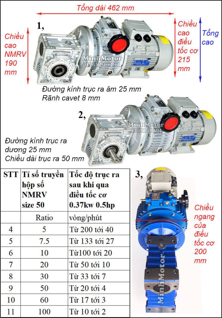 Bộ điều chỉnh tốc độ motor 0.37kw 0.5hp hộp số NMRV size 50 trục vuông góc