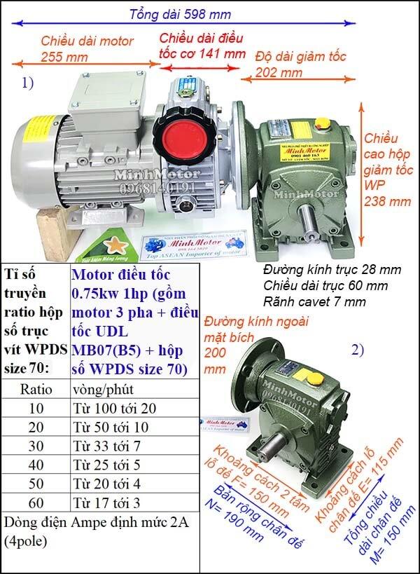 Bộ điều chỉnh tốc độ motor điện 0.75kw 1hp hộp giảm tốc trục vít WPDS size 70