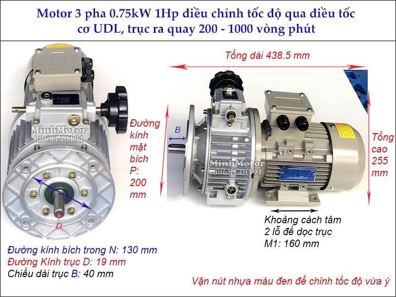 Motor 3 pha 0.75kw 1hp liền hộp số điều tốc cơ