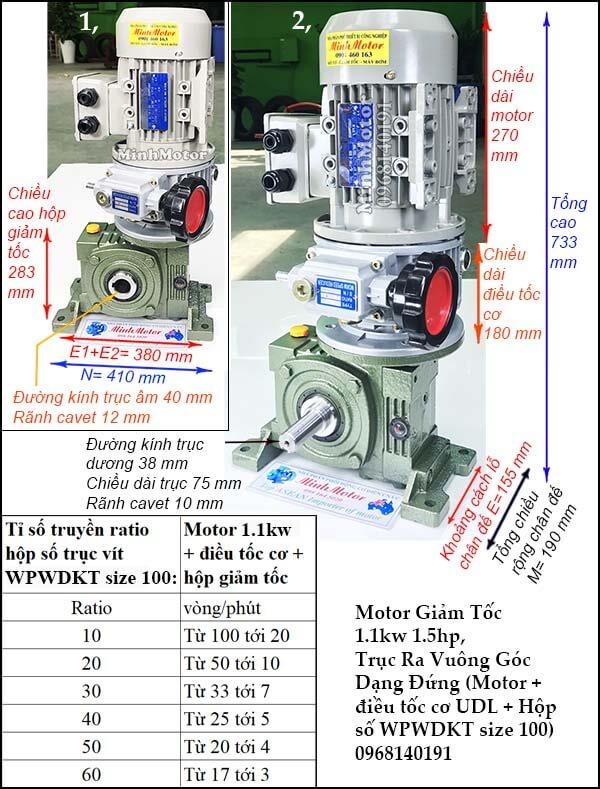 Bộ điều chỉnh tốc độ động cơ 3 pha 1.1kw 1.5hp hộp số kiểu đứngWPWDKT size 100