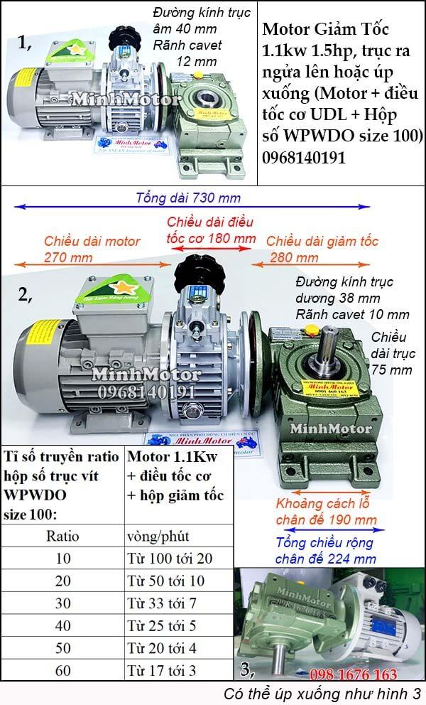 Bộ điều chỉnh tốc độ motor 3 pha 1.1kw 1.5hp trục ngửa, úp size 100