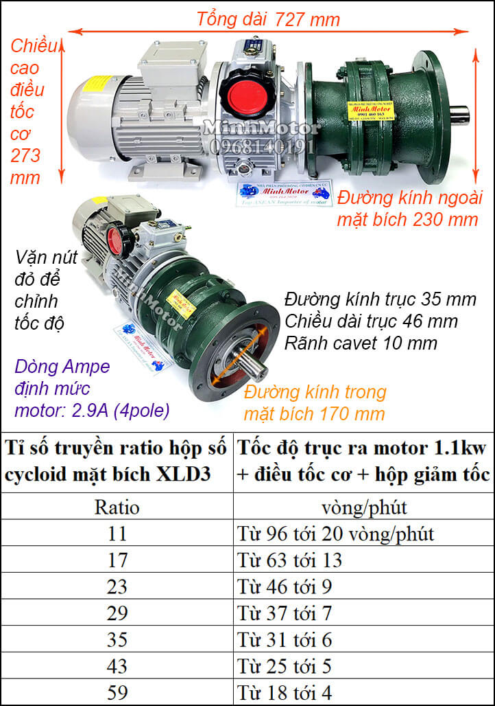 Bộ điều chỉnh tốc độ motor khuấy 1.1kw 1.5hp cyclo mặt bích XLD3 trục úp, ngửa