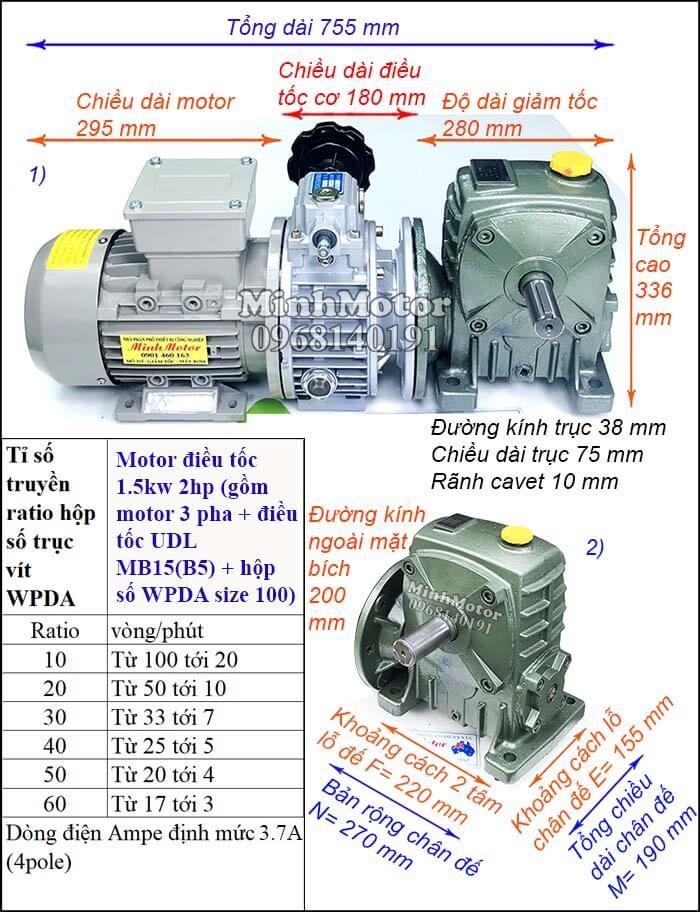 Bộ điều chỉnh tốc độ động cơ điện 1.5kw 2hp hộp số WPDA trục ngang size 100