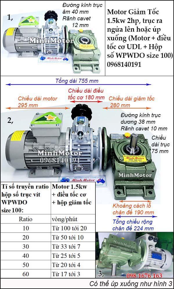 Bộ điều chỉnh tốc độ motor 3 pha 1.5kw 2hp trục ngửa, úp WPWDO size 100