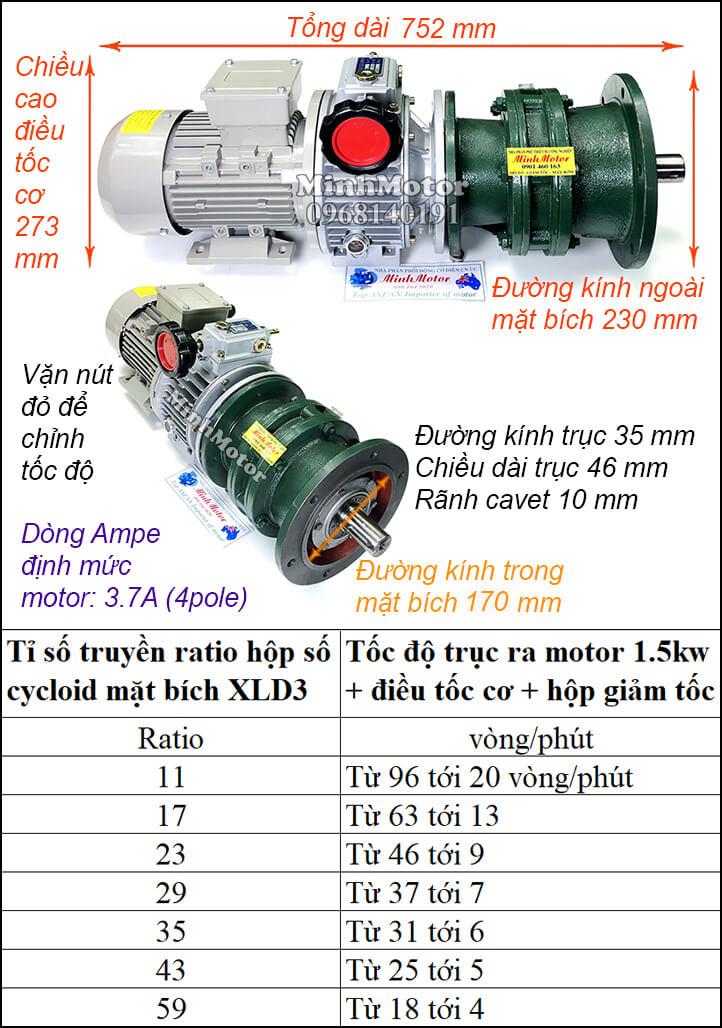 Bộ điều chỉnh tốc độ motor khuấy 1.5kw 2hp cyclo mặt bích XLD3 trục úp, ngửa