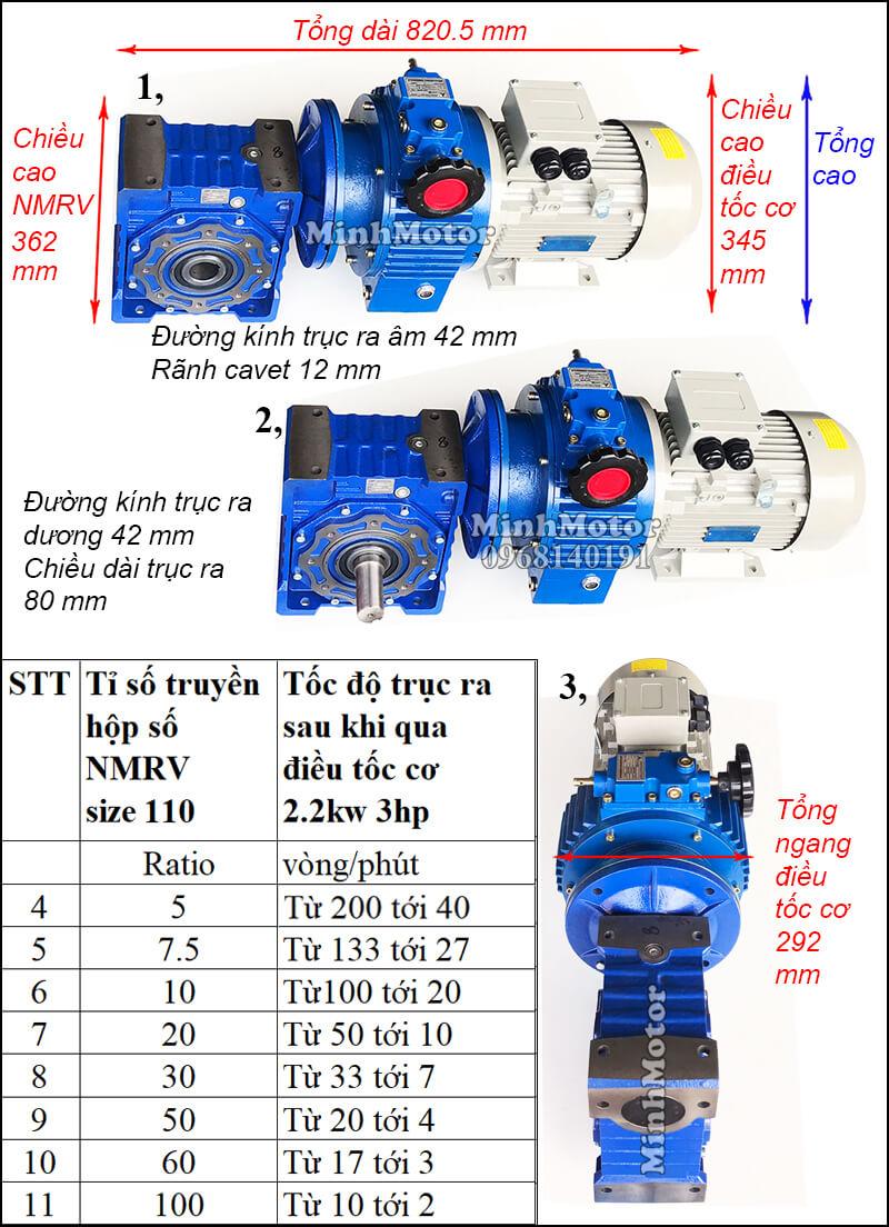 Bộ điều chỉnh tốc độ motor 2.2kw 3hp hộp số NMRV size 110 trục vuông góc