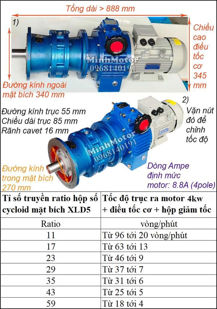 Bộ điều chỉnh tốc độ motor khuấy 3.7kw 5hp cyclo mặt bích XLD5 trục úp, ngửa