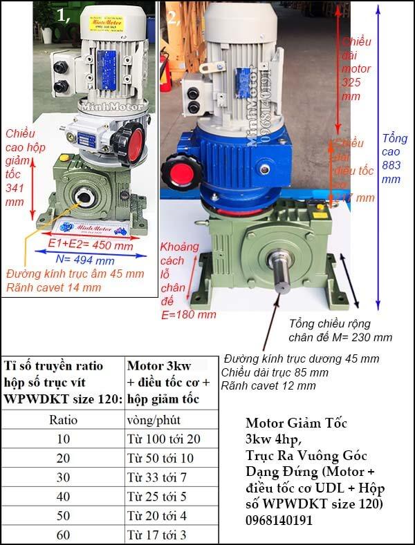 Bộ điều chỉnh tốc độ động cơ 3 pha 3kw 4hp hộp giảm tốc đứngWPWDKT size 120